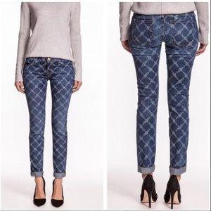 Current/Elliott Indigo Rose Lattice Jeans